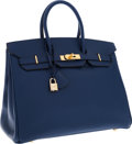 Luxury Accessories:Bags, Hermes 35cm Blue France Ardennes Leather Birkin Bag with GoldHardware. ...