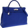 Luxury Accessories:Bags, Hermes 40cm Blue Electric Togo Leather Retourne Kelly Bag with Palladium Hardware. ...