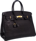 Luxury Accessories:Bags, Hermes 35cm Matte Black Porosus Crocodile Birkin Bag with GoldHardware. ...