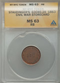 Civil War Merchants, 1863 Token New York City, New York, Staudinger's Civil WarStorecard MS63 Red and Brown ANACS. 630BS-2A. NGC Census: (0...
