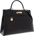 Luxury Accessories:Bags, Hermes 35cm Black Calf Box Leather Sellier Kelly Bag with GoldHardware. ...