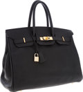 Luxury Accessories:Bags, Hermes 35cm Black Clemence Leather Birkin Bag with Gold Hardware. ...