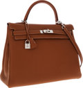 Luxury Accessories:Bags, Hermes 35cm Gold Togo Leather Retourne Kelly Bag with PalladiumHardware. ...