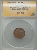 Civil War Patriotics, 1863 Token Civil War Patriotic Token, 174/272a XF45 ANACS. ...