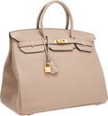 Luxury Accessories:Bags, Hermes 40cm Gris Tourterelle Clemence Leather Birkin Bag with GoldHardware. ...