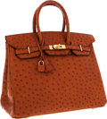 Luxury Accessories:Bags, Hermes 35cm Cognac Ostrich Birkin Bag with Gold Hardware. ...