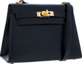 Luxury Accessories:Bags, Hermes 20cm Indigo Calf Box Leather Sellier Mini Kelly Bag with Gold Hardware. ...