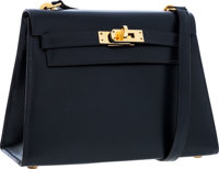 Hermes 20cm Indigo Calf Box Leather Sellier Mini Kelly Bag with Gold Hardware