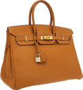 Luxury Accessories:Bags, Hermes 35cm Sable Togo Leather Birkin Bag with Gold Hardware. ...
