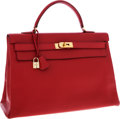 Luxury Accessories:Bags, Hermes 40cm Rouge Vif Ardennes Leather Retourne Kelly Bag with Gold Hardware. ...