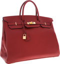 Luxury Accessories:Bags, Hermes 40cm Rouge H Buffalo Leather Birkin Bag with Gold Hardware....