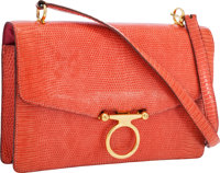 Hermes Rose Lizard Odeon Bag with Gold Hardware
