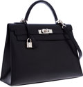 Luxury Accessories:Bags, Hermes 32cm Black Veau Graine Lisse Leather Sellier Kelly Bag withPalladium Hardware. ...