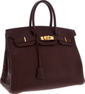 Luxury Accessories:Bags, Hermes 35cm Chocolate Fjord Leather Birkin Bag with Gold Hardware. ...