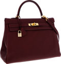 Luxury Accessories:Bags, Hermes 35cm Rouge H Buffalo Leather Retourne Kelly Bag with GoldHardware. ...