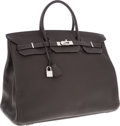 Luxury Accessories:Bags, Hermes 40cm Graphite Clemence Leather Birkin Bag with Palladium Hardware. ...