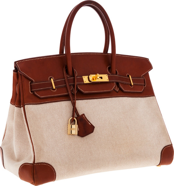 Hermes 35cm Natural Barenia Leather   Toile Birkin Bag  ee581b16d6160