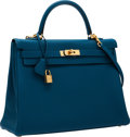 Luxury Accessories:Bags, Hermes 35cm Blue de Galice Togo Leather Retourne Kelly Bag withGold Hardware. ...
