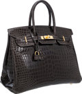 Luxury Accessories:Bags, Hermes 35cm Shiny Graphite Porosus Crocodile Birkin Bag with Gold Hardware. ...