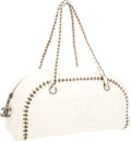 Luxury Accessories:Bags, Chanel White Leather Modern Chain Bowling Bag with GunmetalHardware. ...