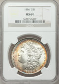 Morgan Dollars: , 1886 $1 MS64 NGC. NGC Census: (51348/26491). PCGS Population(41179/17510). Mintage: 19,963,886. Numismedia Wsl. Price for ...