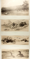 Books:Prints & Leaves, [George Catlin]. John McGahey. Group of Four Modern Reproductionsof Sepia-Tinted Lithographs after Works by George Catlin. ...
