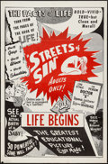 "Movie Posters:Exploitation, Streets of Sin/Life Begins Combo (1950s). One Sheet (27"" X 41""). Exploitation.. ..."
