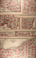 Books:Maps & Atlases, [Maps]. Group of Seven Hand-Colored Maps Depicting the Counties of Ohio. New York: H.S. Stebbins for H.H. Lloyd & Co., Ca. 1...