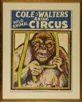 "Entertainment Collectibles:Circus, Cole & Waters Circus Poster. A snarling gorilla snaps the bars of his cage on this silkscreened ""WILD ANIMAL"" circus poster,..."