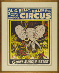 "Entertainment Collectibles:Circus, Kelly, Miller Circus Poster. Colorful silk-screened poster for AlG. Kelly and Miller Bros. Circus, circa 1950s. Titled ""THE..."