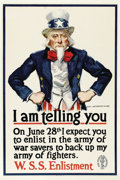 """Military & Patriotic:WWI, I Am telling you... 21"""" x 28"""" Artist: James Montgomery Flagg. Thisposter features one of the most enduring images of the fi..."""