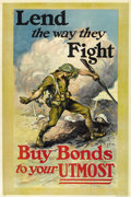 """Military & Patriotic:WWI, Lend The Way They Fight. 27"""" x 41"""" Artist: M. Ashe. Perhaps one ofthe most vivid and lively posters of the time. It depicts..."""