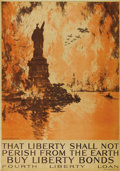"""Military & Patriotic:WWI, That Liberty Shall Not Perish From the Earth. 30"""" x 40"""", Artist:Joseph Pennell. This is the most well documented poster of ..."""