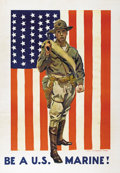 """Military & Patriotic:WWI, Be A U.S. Marine. 27.5"""" x 39.5"""" Artist: James Montgomery Flagg.Printed for the U.S. Marine Corps. Another poster in the pan..."""