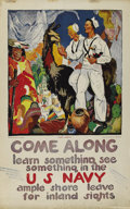 """Military & Patriotic:WWI, Come Along, Learn Something, See Something in the Navy! 28"""" x 42""""Artist: James H Daughtery. Poster depicts two sailors enjo..."""