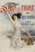 "Military & Patriotic:WWI, Fight or Buy Bonds. 20"" x 30"" Artist: Howard Chandler Christy.Christy was a popular magazine illustrator before the war and..."