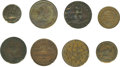 Political:Tokens & Medals, Selection of Scarce Hard Times Tokens. Included are: Low 49 (VF); Low 54 (F, Dark); Low 112 (XF, granular, cleaned); Low 120... (Total: 8 pieces)