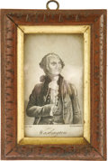 "Political:Small Paper (pre-1896), George Washington Engraving Circa 1790s measuring 2.375"" x 4"" in a 4"" x 5.5"" carved wooden frame. ""G. Carattoni"" is impr..."