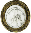 Political:Miscellaneous Political, Rare Circa 1790 George Washington Curtain Tieback Or Drawer Pull. Enamel portrait set into brass. Highly recognizable line-d...
