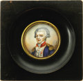 """Political:Small Miscellaneous (pre-1896), Fine 19th Century Signed Miniature on Ivory of a Youthful General LaFayette. Signed """"G. Riviere"""" in the field near his left ..."""