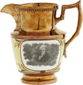 Political:3D & Other Display (pre-1896), Choice, Medium-Size Andrew Jackson Copper Luster Pitcher. A lovely example, featuring Jackson's portrait on both sides. His ...