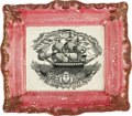 Antiques:Folk Art, Superb Sunderland Pink Luster Plaque With American Warship. Gunports identify this as a naval vessel, with American flag fl...