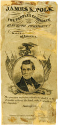 Political:Ribbons & Badges, Rare James K. Polk 1844 Silk Campaign Ribbon. For ribbon collectors, Polk is one of the toughest candidates of this era (ind...