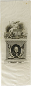 """Political:Ribbons & Badges, Choice 1844 Henry Clay Silk Campaign Ribbon. Very tough to find in this virtually pristine state. 3"""" x 8.5""""...."""