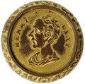 Political:Tokens & Medals, 1844 Henry Clay Hollow Brass Shell Medalet. Listed as HC 1844-44, measuring 26mm. Features a togated bust facing left with t...