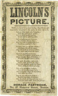 Political:Posters & Broadsides (pre-1896), Fantastic 1860 Abraham Lincoln Campaign Ditty Broadside, Making Fun of his Homely Visage. This delightful anti-Lincoln hando...