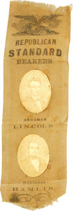 Political:Ribbons & Badges, Extremely Rare 1860 Lincoln & Hamlin Jugate Ribbon with Salt Print Images Attached. This style of ribbon comes in several fo...