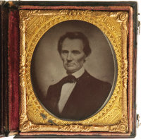 "Abraham Lincoln 1/6th Plate Ruby Ambrotype. Matthew Brady's flattering 1860 ""Cooper Union"" portrait of Abraham..."
