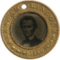 """Political:Ferrotypes / Photo Badges (pre-1896), 1860 Lincoln/Hamlin Campaign Ferrotype, Featuring the Beloved Brady""""Cooper Union"""" Pose. Basically a choice example, with so..."""