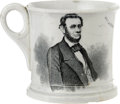 Political:3D & Other Display (pre-1896), Classic Abraham Lincoln Ceramic Mug. This is the companion piece to a flat plate or saucer, produced around 1862. A portrait...